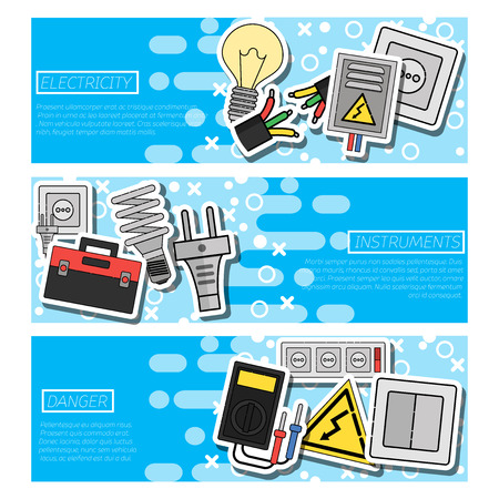 Set of Horizontal Banners about electricity. Vector illustration