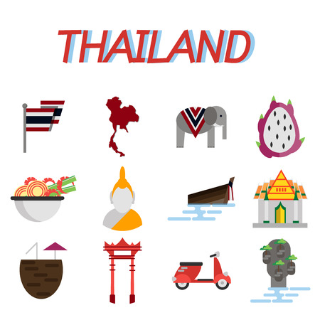 mini bike: Thailand flat icons set. Trips and Travel