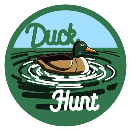 Color vintage hunting emblem on a white background isolated . Illustration