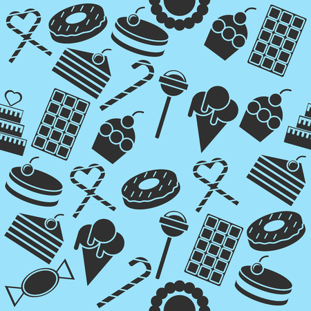confectionery: Cafe and confectionery icon set. Sweet baked goods, desserts and other. Confectionery collage