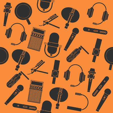 tv show: Different microphones types collage. Journalist microphone, interview, music studio. Web broadcasting microphone, vocal tool, tv show microphone.