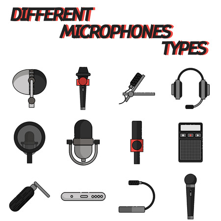 tv show: Different microphones types flat icon set . Journalist microphone, interview, music studio. Web broadcasting microphone, vocal tool, tv show microphone. Illustration