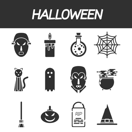 different concept: Halloween flat icon set. Illustration of collage for different concept of Halloween Illustration