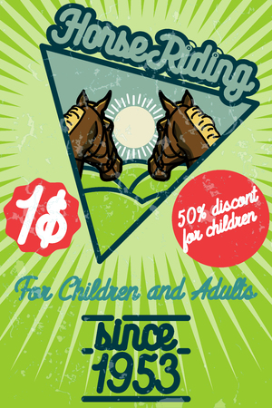 tourney: Horse riding banner. Good as a template of advertisement. Vector illustration EPS 10