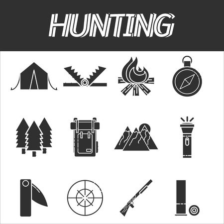 wildlife shooting: Hunting icons set. Vector illustration