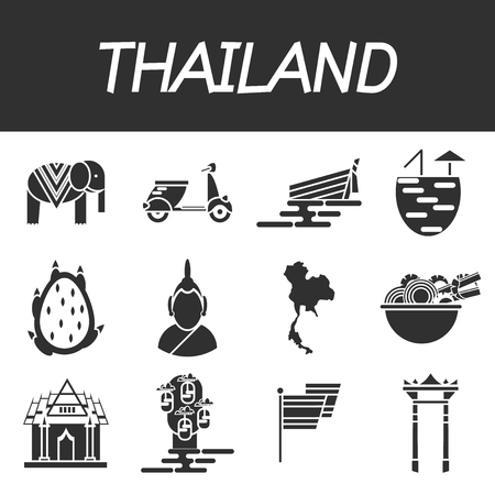 Thailand icons set. Trips and Travel. Vector illustration,