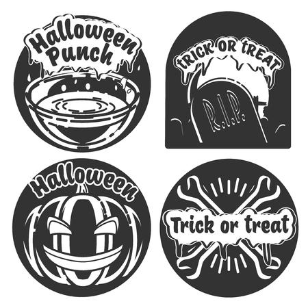 Vintage Typography Halloween Vector Badges or Labels Pumpkin Ghost Scull Bones Bat Spider Web and Witch Hat Illustration