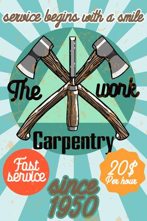 Color vintage Carpenter poster. Design elements. Vector illustration, EPS 10 Illustration