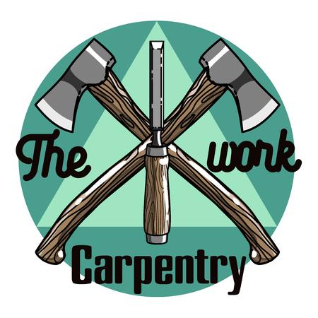 Kleur vintage Carpenter embleem. Design elementen. Vector illustratie, EPS-10