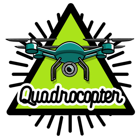 Color vintage Quadrocopter emblem. Vector illustration,