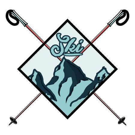 Vintage skiing and winter sports emblem, label, badge, . Ski club , extreme, speed race tour. Vector illustration Illustration