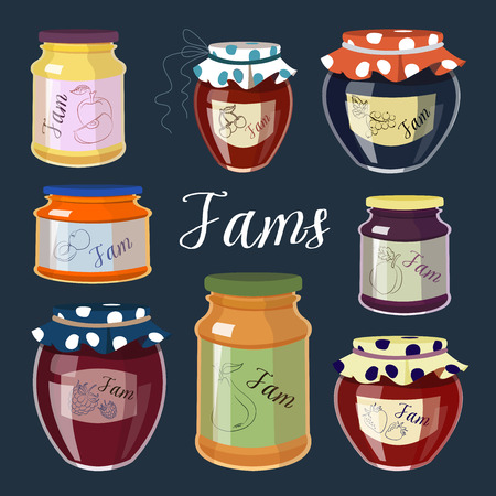 fruit jam: Collection of fruit jam jars of different colors isolated on color background