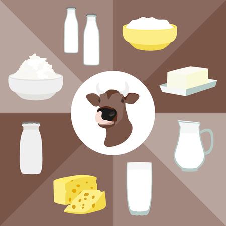 Milk and farm products. Vector illustration, Illustration