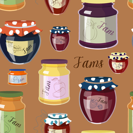 fruit jam: Pattern of fruit jam jars of different colors isolated on color background
