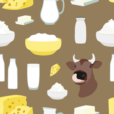 skim: Pattern of Milk and farm products. Vector illustration,