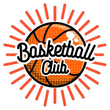 Color vintage basketball emblem. Vector illustration