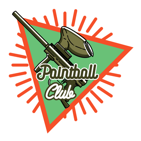 paintball: Color vintage paintball emblem - mask and paint blots and splashes Illustration