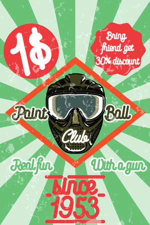 paintball: Color vintage paintball poster. Play paintball. Vector vintage illustration.
