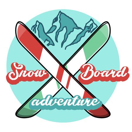 Vintage skiing and winter sports emblem, label, badge Illustration