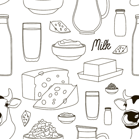 skim: Pattern of Milk and farm products. Vector illustration