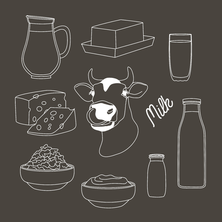 skim: Milk and farm products. Vector illustration