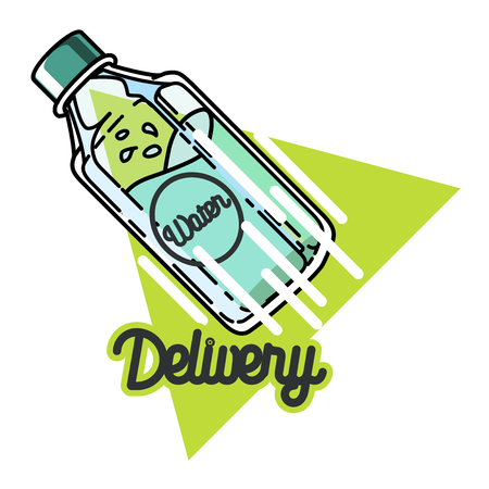 firm: Water delivery firm isolated on white background. Vintage simple design concept. Illustration