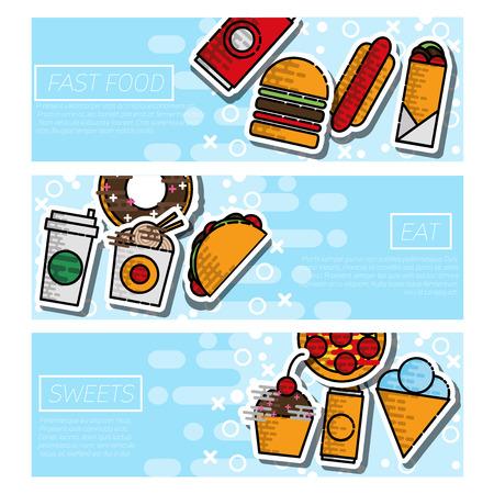 Fast food horizontal banner set. Vector illustration
