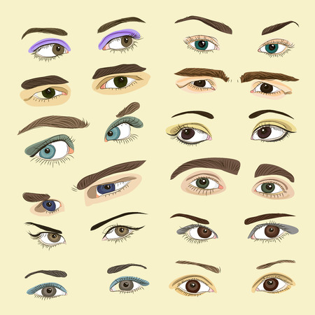 eyebrows: Man and woman isolated vector eyes and eyebrows silhouette. Face parts. Vector illustration
