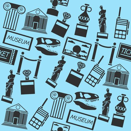 Hand drawn museum pattern - Isolated On Blue Background - Vector Illustration, Graphic Design, Editable For Your Design