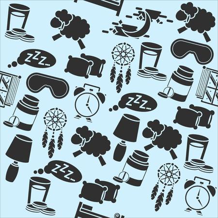 eventide: Hand drawn sleep time pattern - sleeping whales, pillows, stars, etc. Illustration
