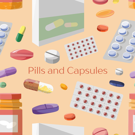 capsules: Pills and Capsules Icons Set pattern. Medical vitamin pharmacy vector illustration.