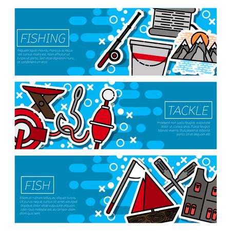minnow: Fishing horizontal banners set with fisherman items symbols flat isolated illustration