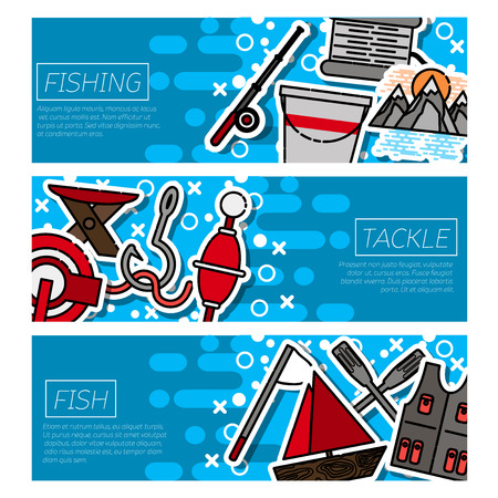 Fishing horizontal banners set with fisherman items symbols flat isolated illustration