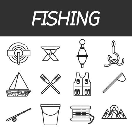 sinker: Fishing icon set.