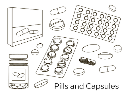 capsules: Pills and Capsules Icons Set. Medical vitamin pharmacy vector illustration. Illustration