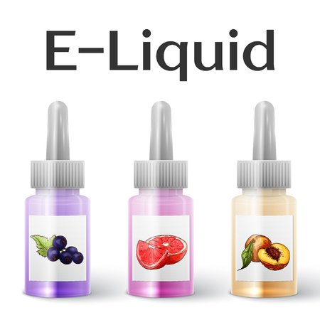 vaporized: Vector E-Liquid illustration of different flavor. Icons of E-Liquid. The taste of the electronic cigarette