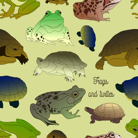 croaking: Set with frogs and turtles