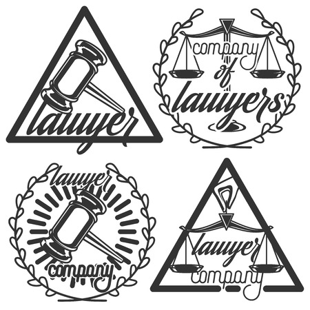 juridical: Vintage lawyer emblems. Vector vintage lawyer   collection. Juridical firm labels and badges. Jurist icon templates. Act, principle symbols. Attorney signs. Legal concepts.