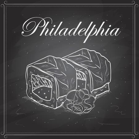 philadelphia roll: Vector sushi sketch, Philadelphia roll on a blackboard