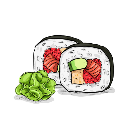 Futomaki sushi roll containing salmon meat, sweat pepper rice, caviar, avocado, cucumber on a white background. Japanese cuisine, traditional food icon. Vector sushi color sketch Illustration