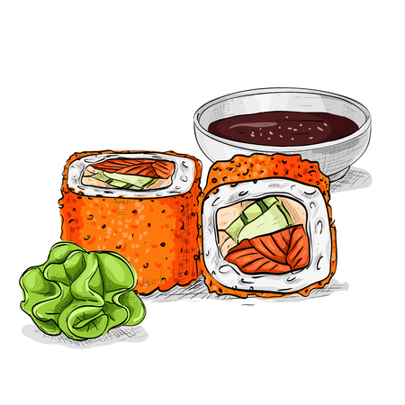 nori: California rolls with tobiko, shrimp or tuna and avacado. Sushi rolls set icons. Vector sushi color sketch