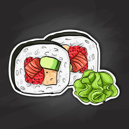 japanese cuisine: Futomaki roll. Japanese cuisine, traditional food icon. Vector sushi color sticker