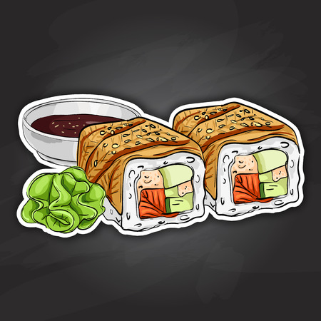 Vector sushi color sticker, Canada roll. Fresh fish and rice.