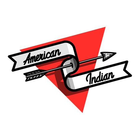 Color vintage american indian emblem for your design