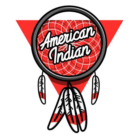 historical romance: Color vintage american indian emblem for your design