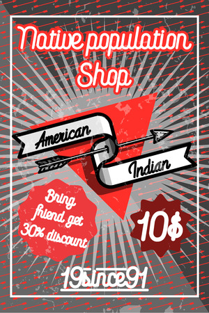 bowstring: Color vintage american indian poster for your design.