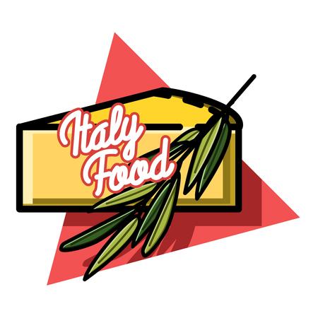 Illustration Der Italienisches Essen Emblem. Lebensmittel-Design ...
