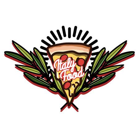 illustration of italianfood emblem. food design template. Concept for, restaurant menu, cafe, fast food, pizzeria.