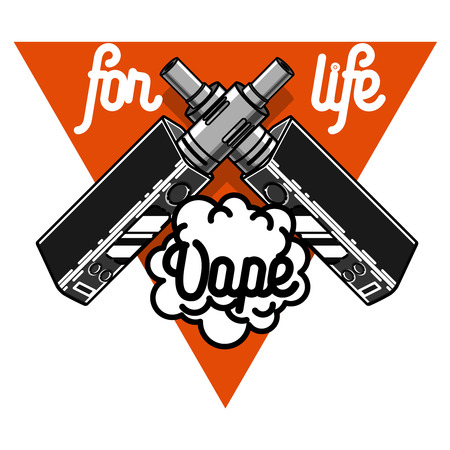 eliquid: Color vintage vape, e-cigarette emblem on white background