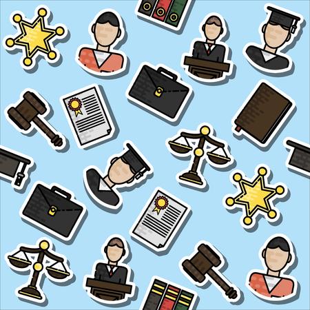 legislation: Law justice, police and legislation icon color sketch pattern illustration